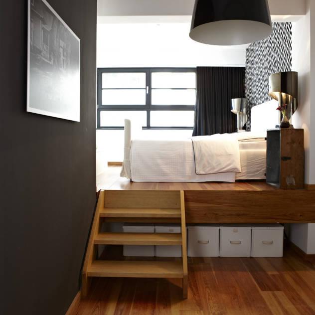 En tarz yatak odası dekorasyonları - yuksek yatak