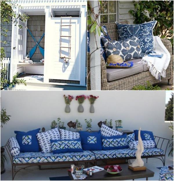 mavi beyaz balkon tasarımları