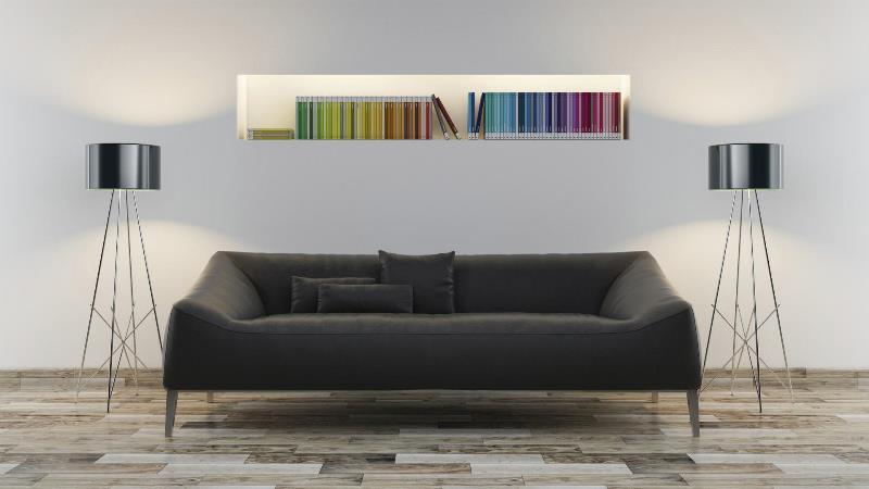 Siyah oturma odası dekorasyonu
