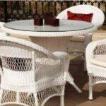 beyaz rattan balkon masa sandalye modeli